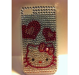 iPhone 4 klik hoes - Hello Kitty hartjes (Wit Doorzichtig)