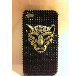 iPhone 4 klik hoes - Panter kop (Zwart)