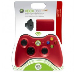 Xbox 360 Wireless controller + Play & Charge kit *Rood*
